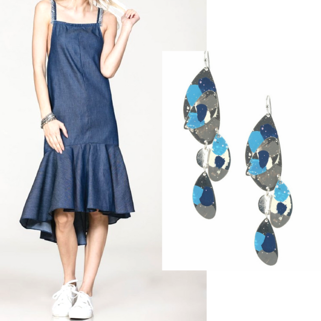 denim dress and painted earrings