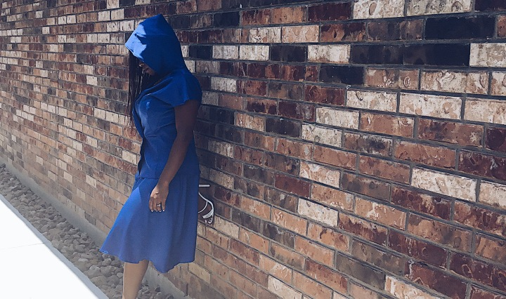 blue hooded top with skirt blue labels boutique