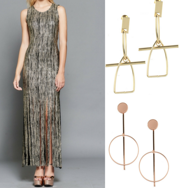 gold and black fringe womens dress and gold earrings