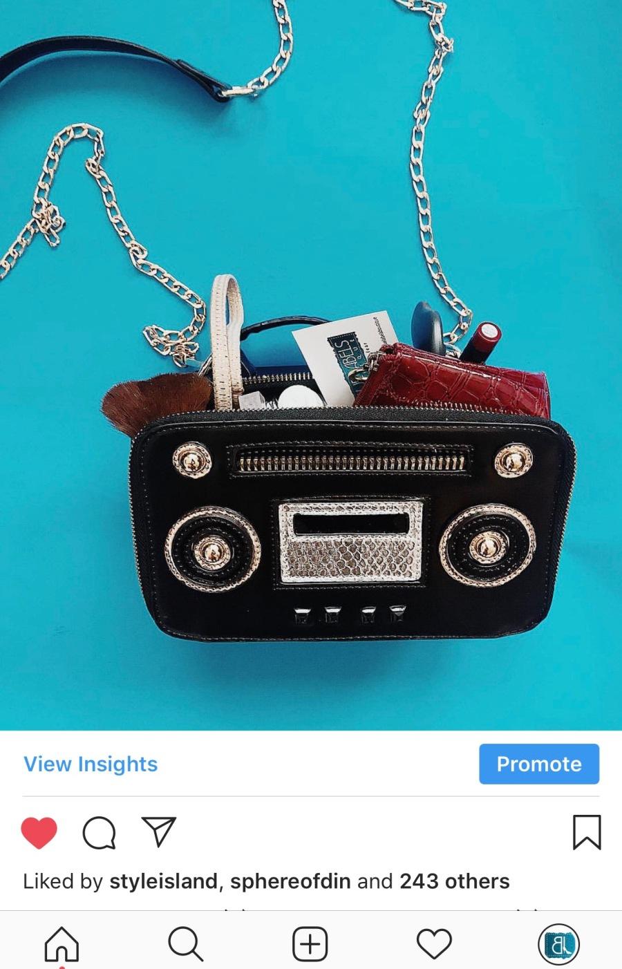 radio shaped handbag blue labels boutique