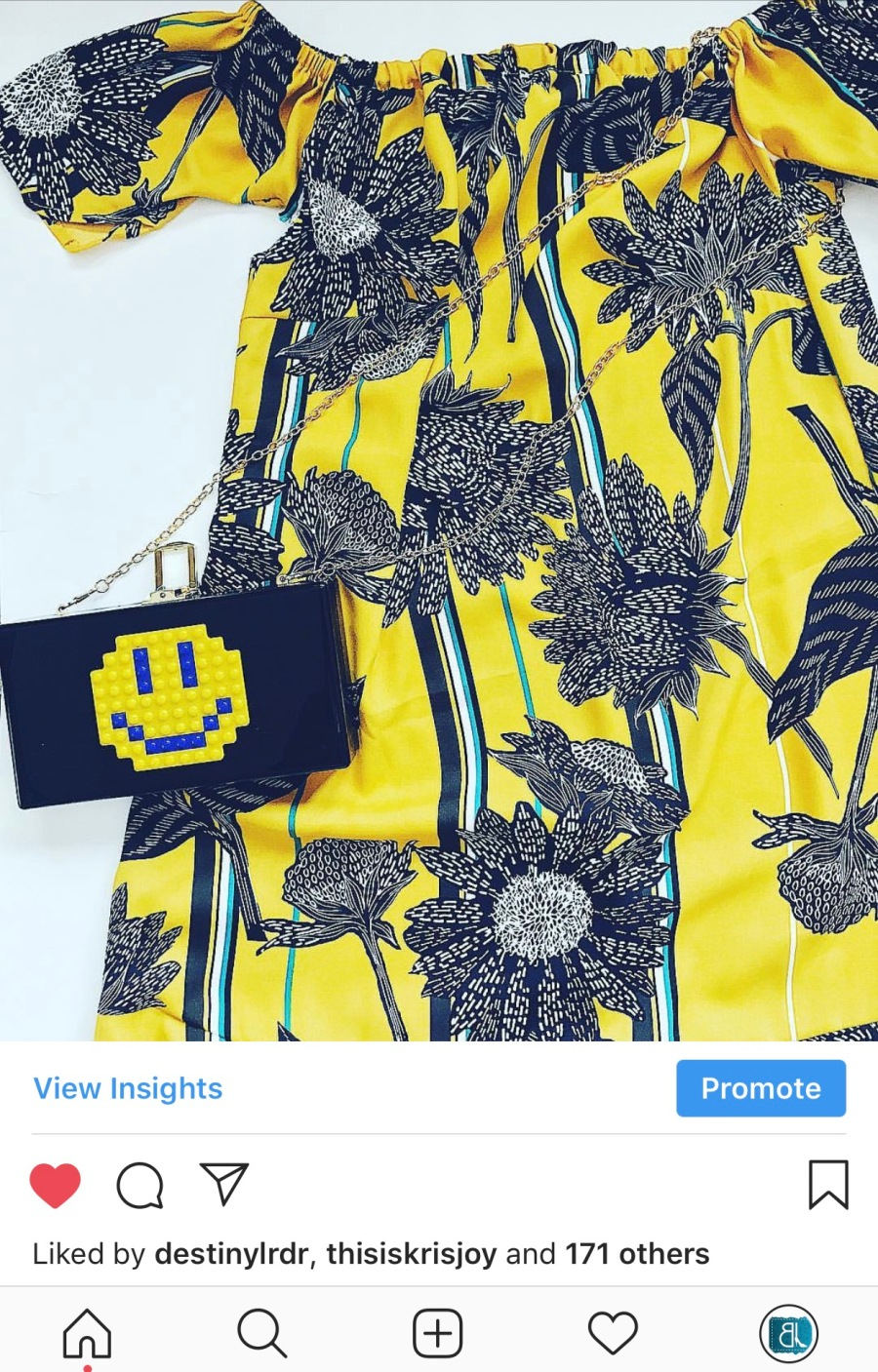 yellow printed off the shoulder dress smiley face bag blue labels boutique
