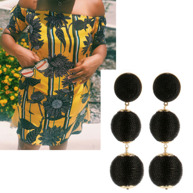 yellowsunflowerofftheshoulderdressblackearrings