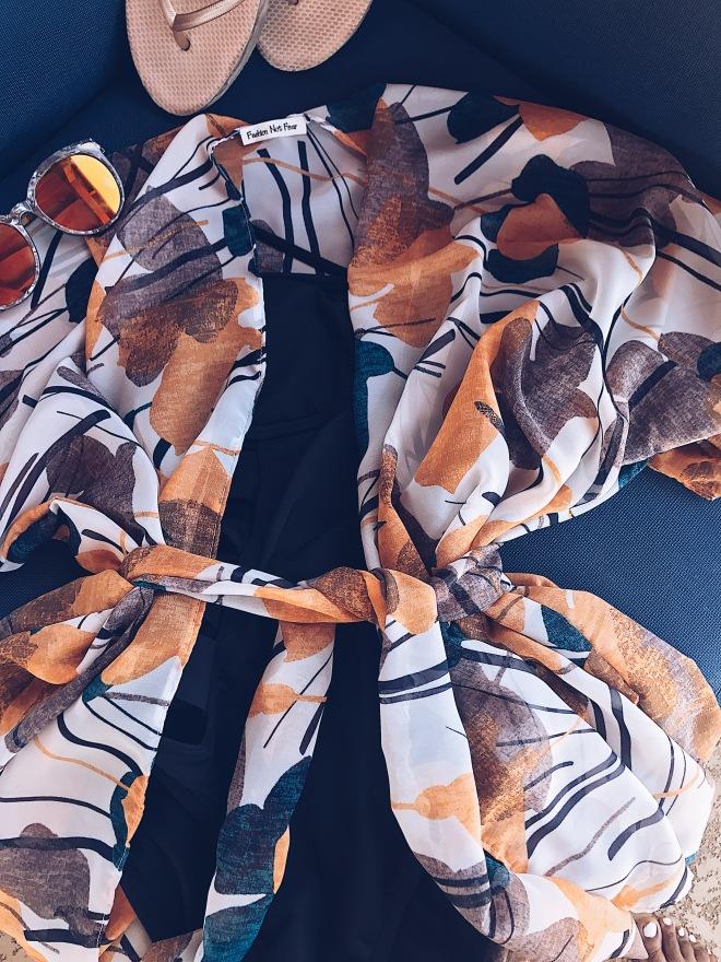sheer floral printed wrap top