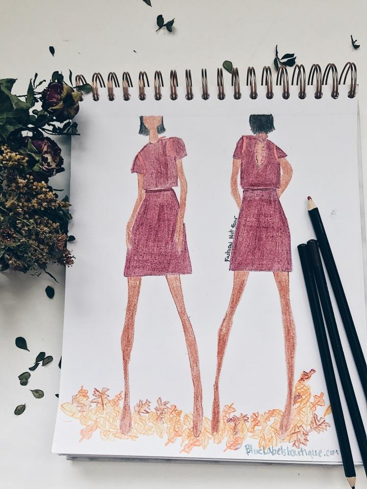 burgundyandredskirt sketch