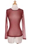 burgundy long sleeve sheer top