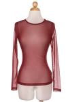 burgundy long sleeve sheer top