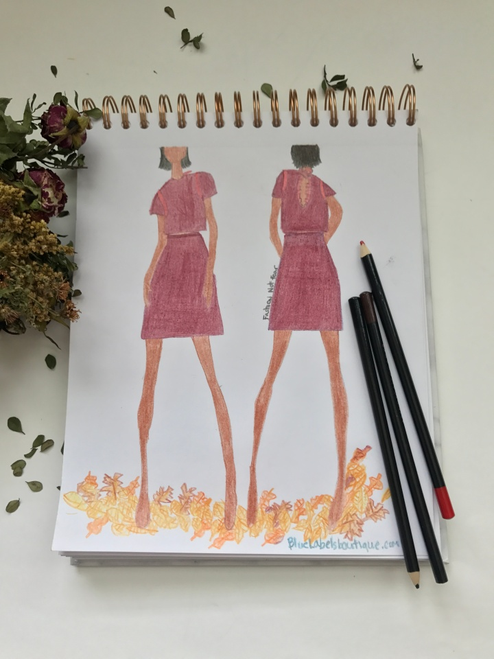 fashion sketch of two piece top and skirt set