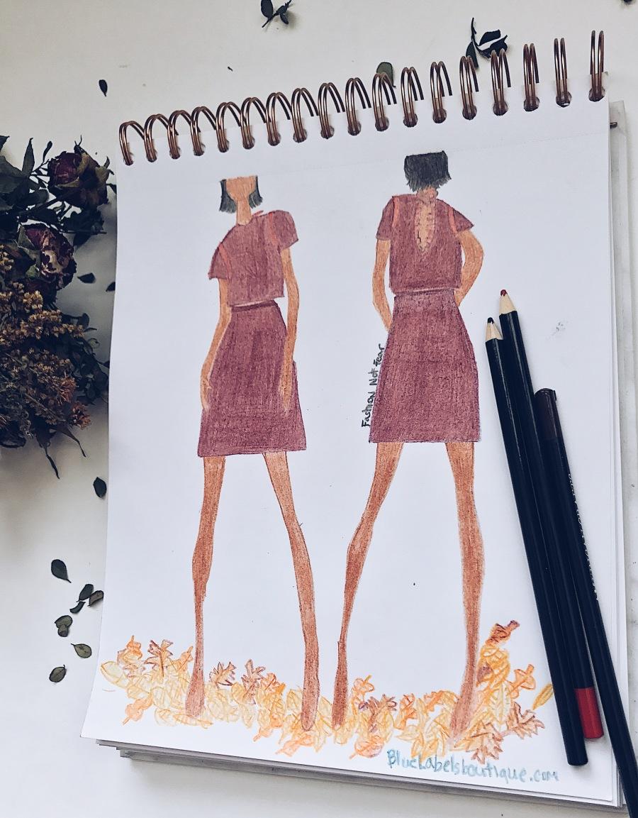 Fashion sketch skirt set blue Labels Boutique