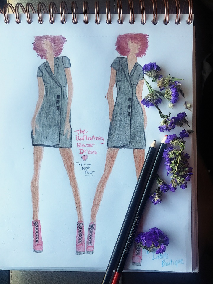 sketch of black blazer dress