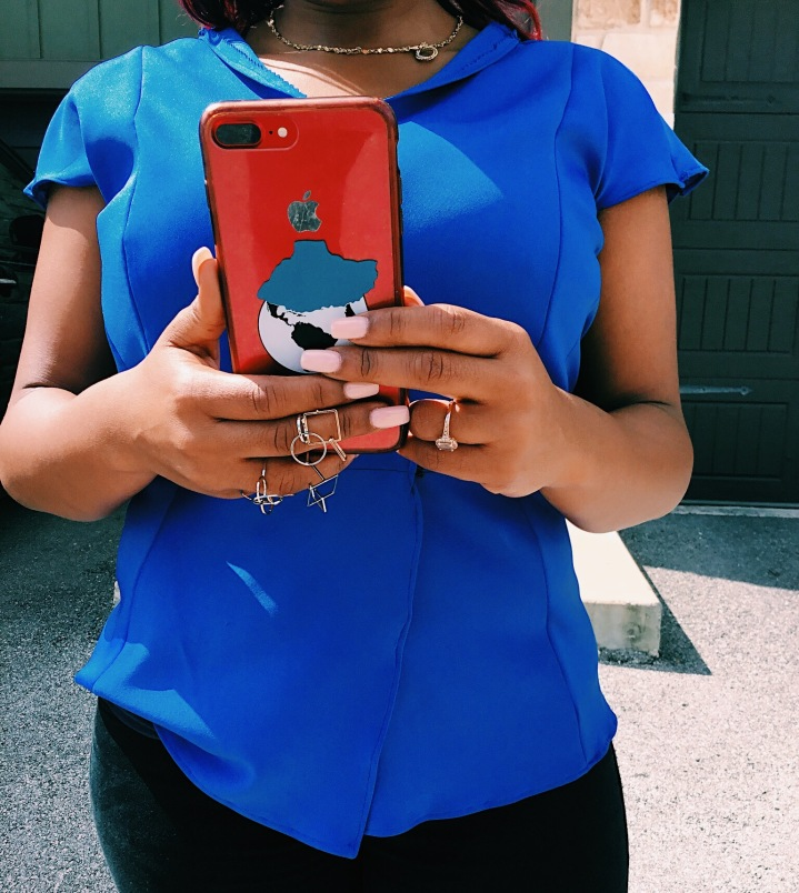 Fearless women phone case blue hood