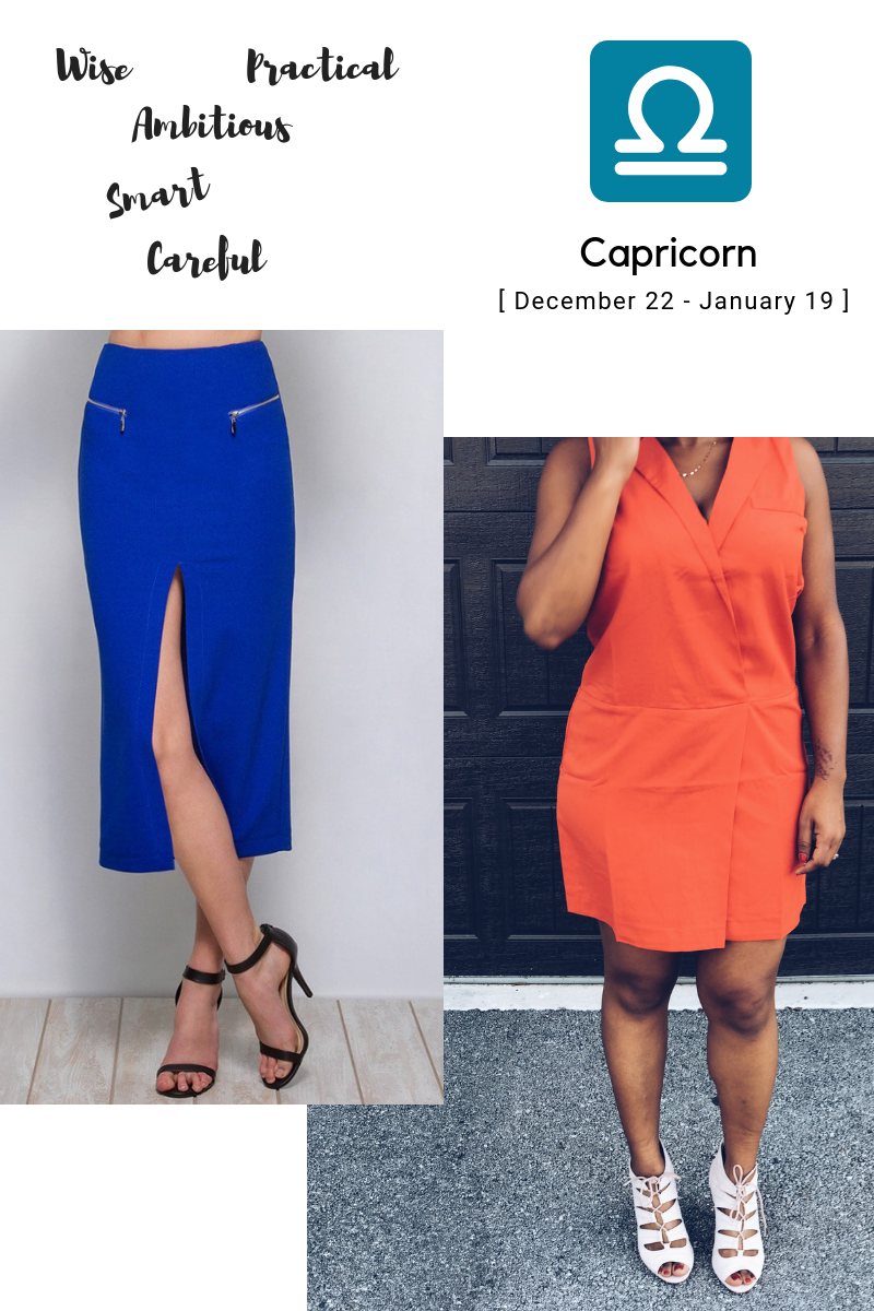 capricorn blue skirt orange vest dress
