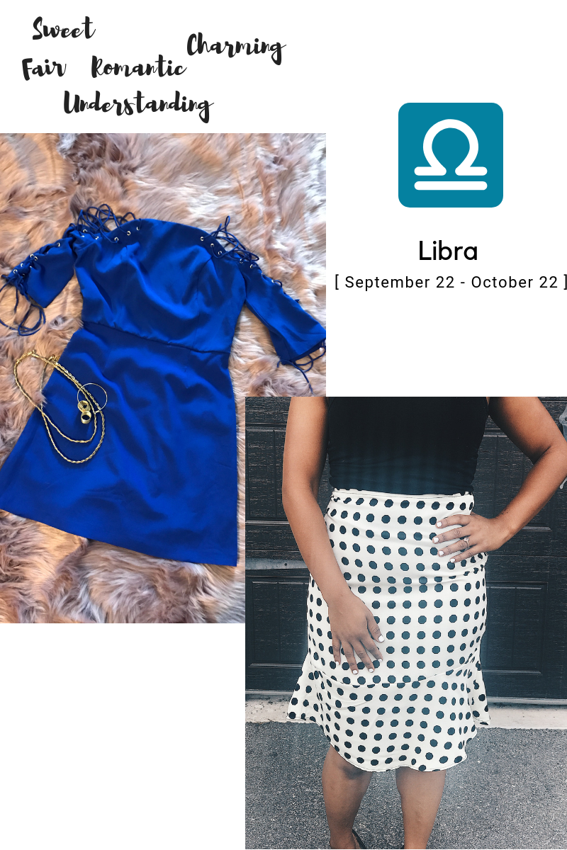 Libra blue strappy dress polka dot skirt