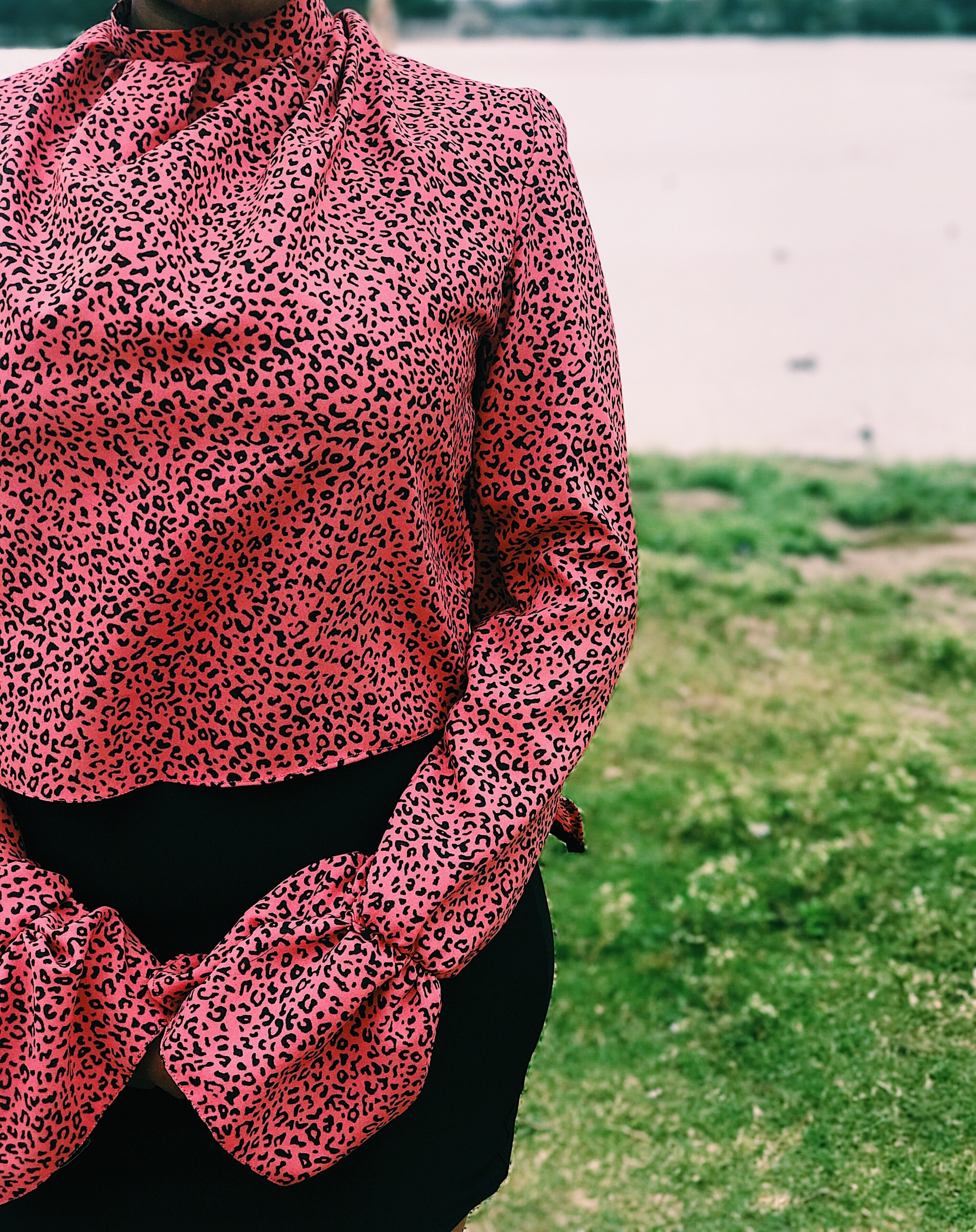 woman wearing pink black animal print blouse
