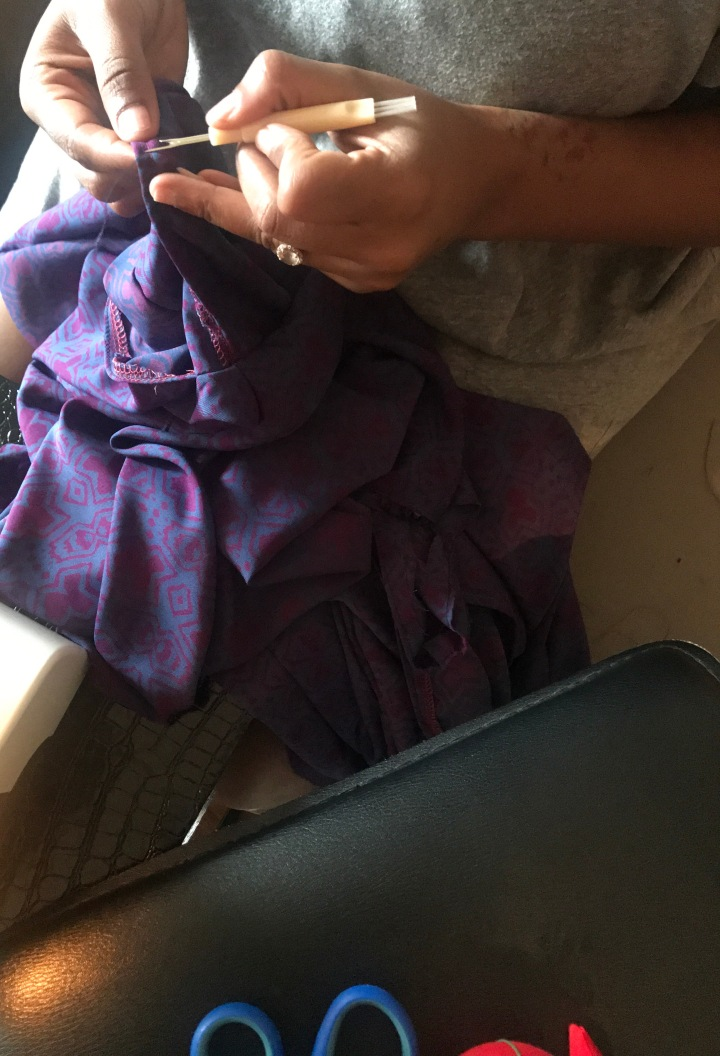 removing thread from purple and pink maxi dress