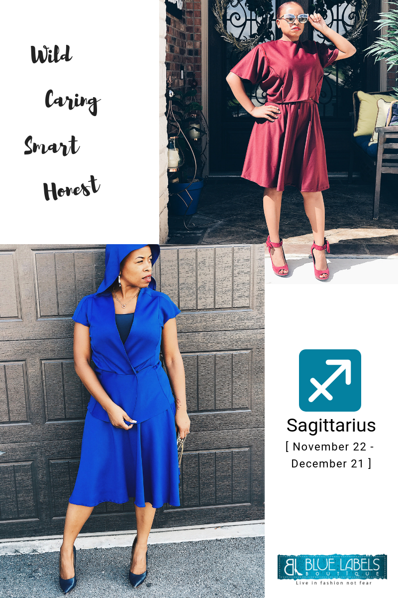 Sagittarius burgundy two piece skirt set blue hooded vest blue skirt