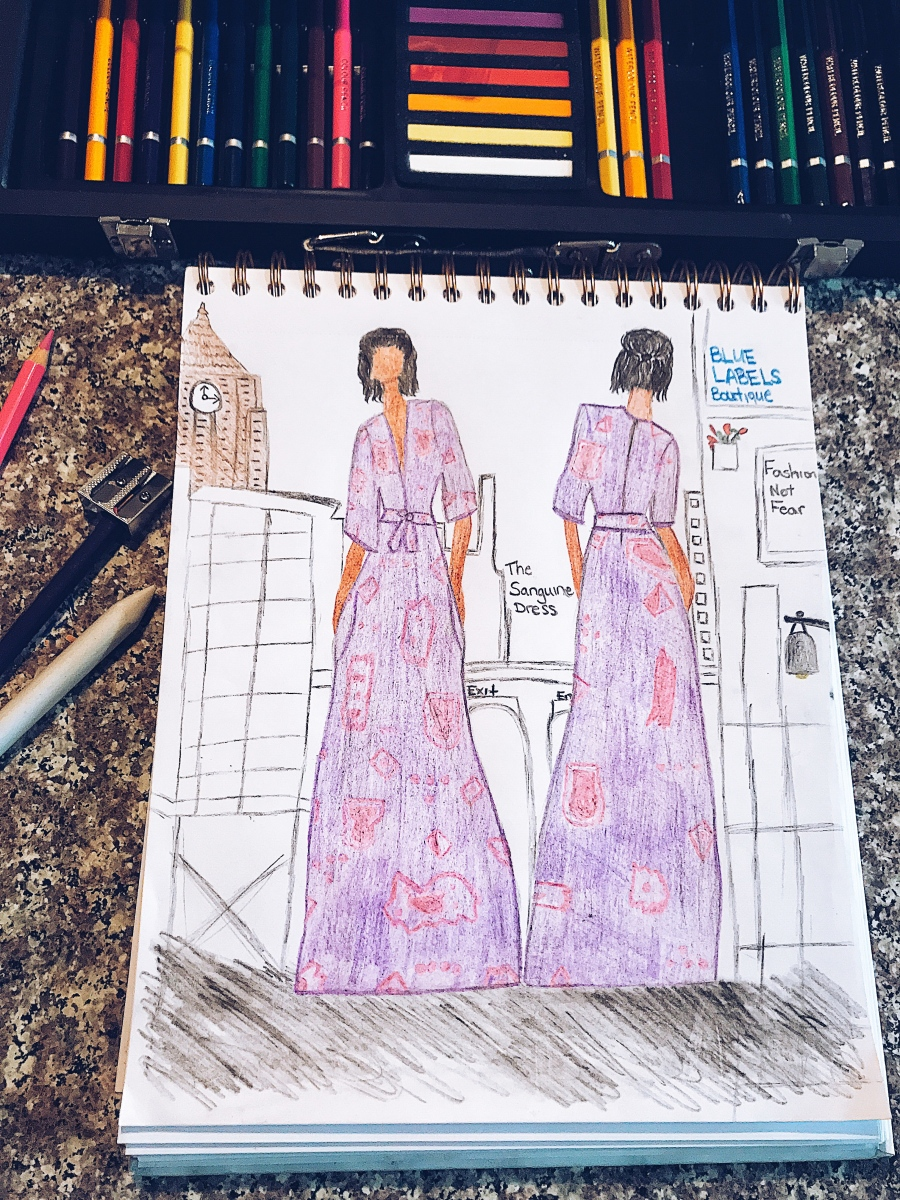 fashion sketch of purple and pink maxi dress