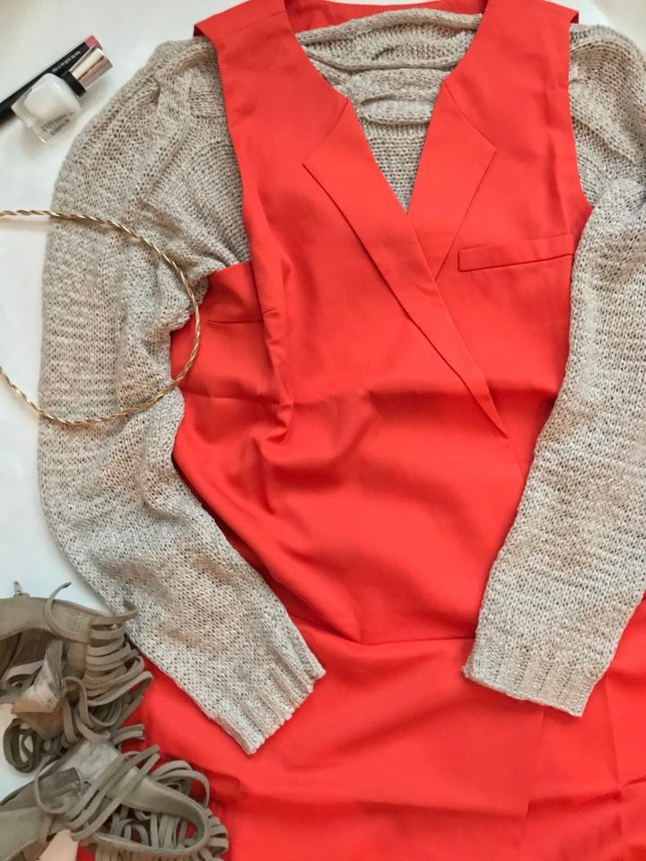 beige sweater and orange vest dress