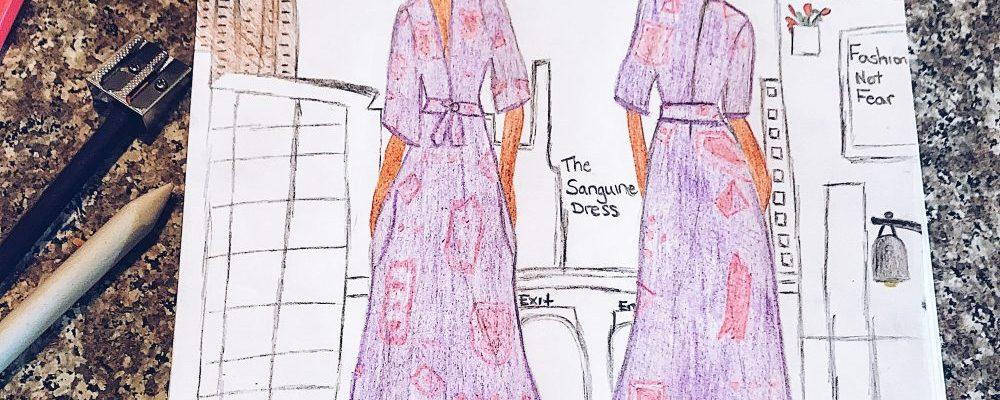 sketch of maxi dress