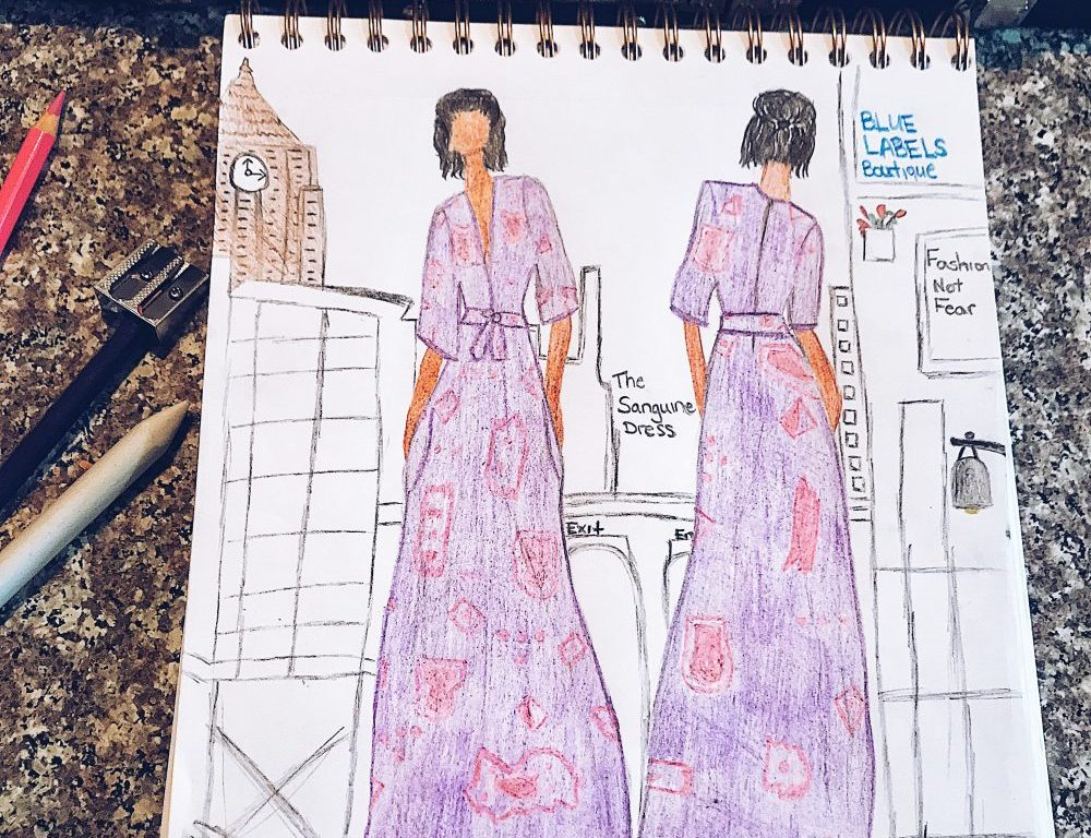 sketch of maxi dress
