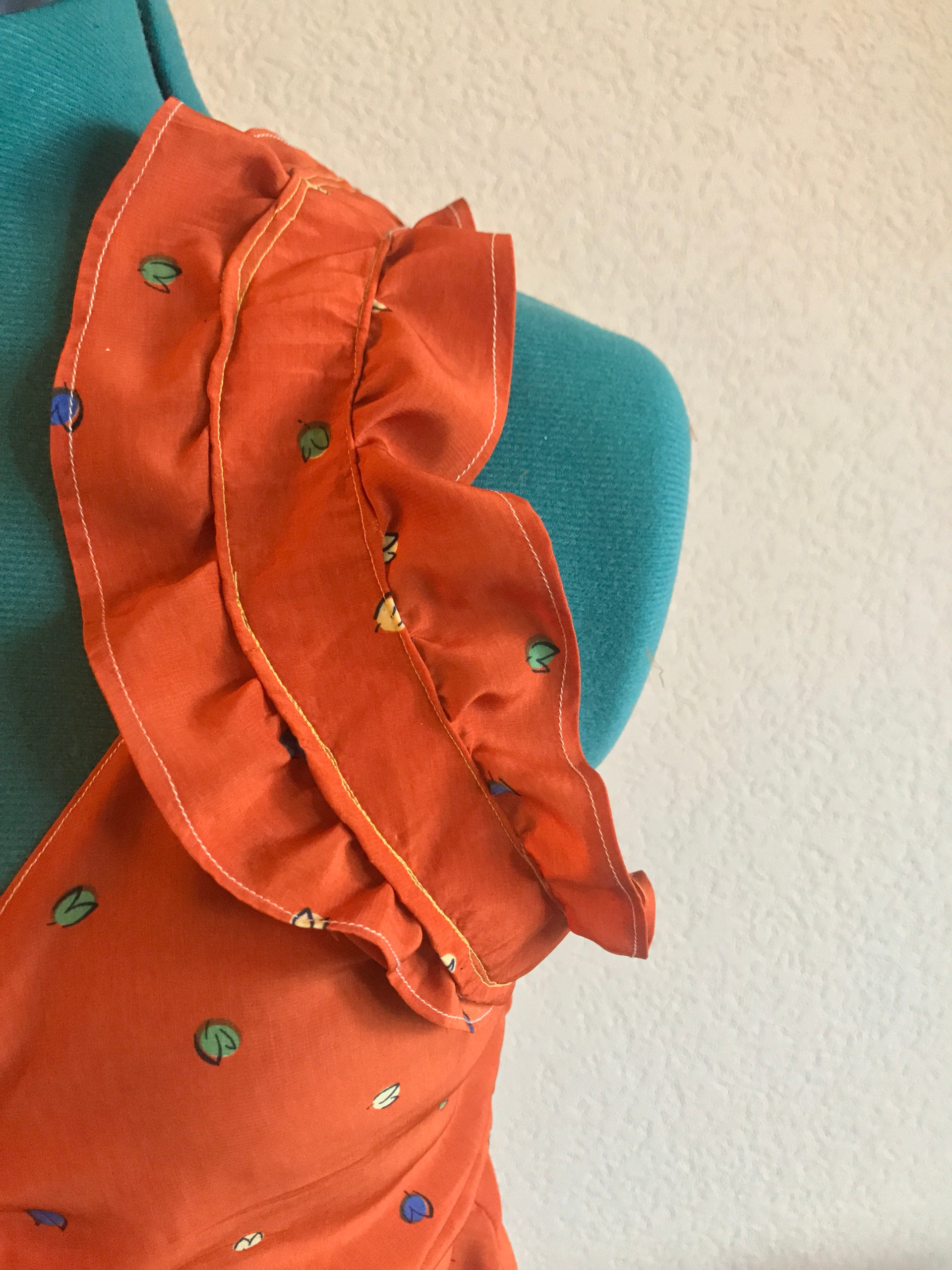 handmade orange printed tank with ruffle sleeves