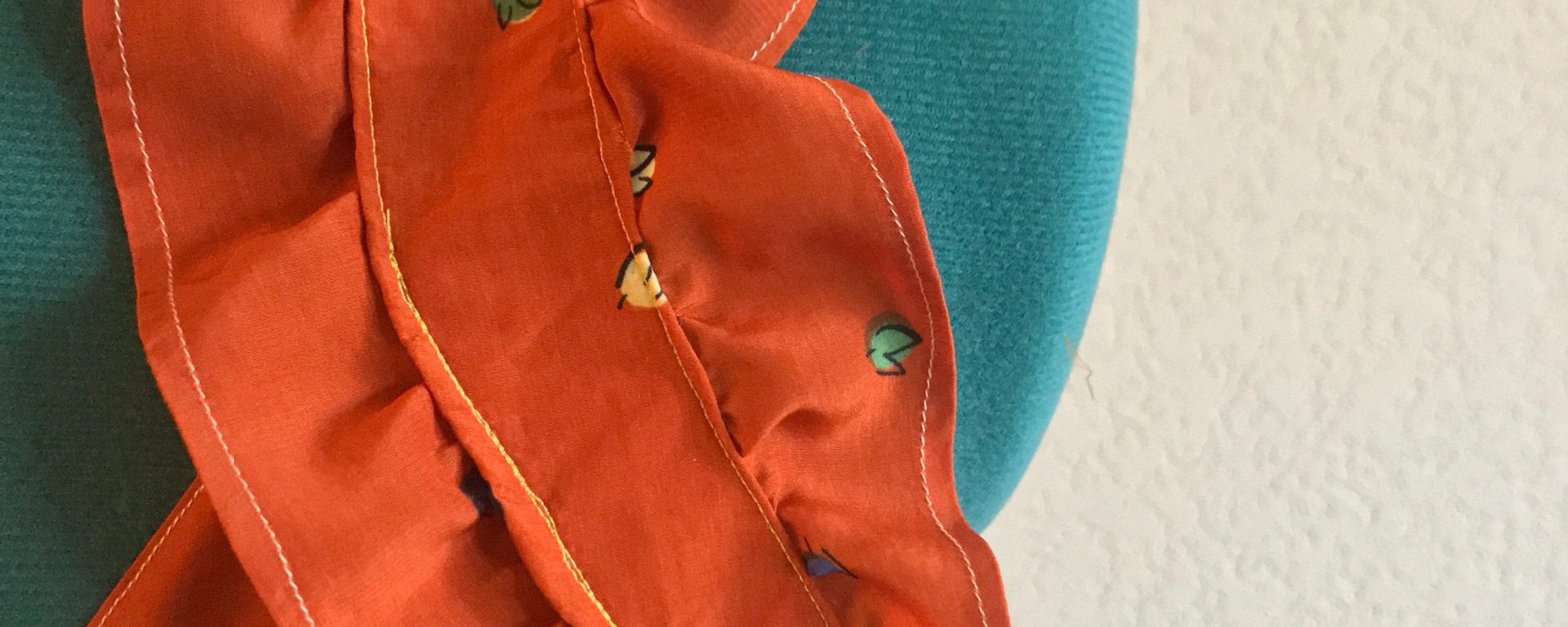 handmade orange printed tank with ruffle sleeves