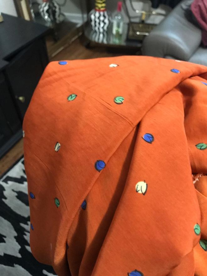 orangefabricwithfloralprint
