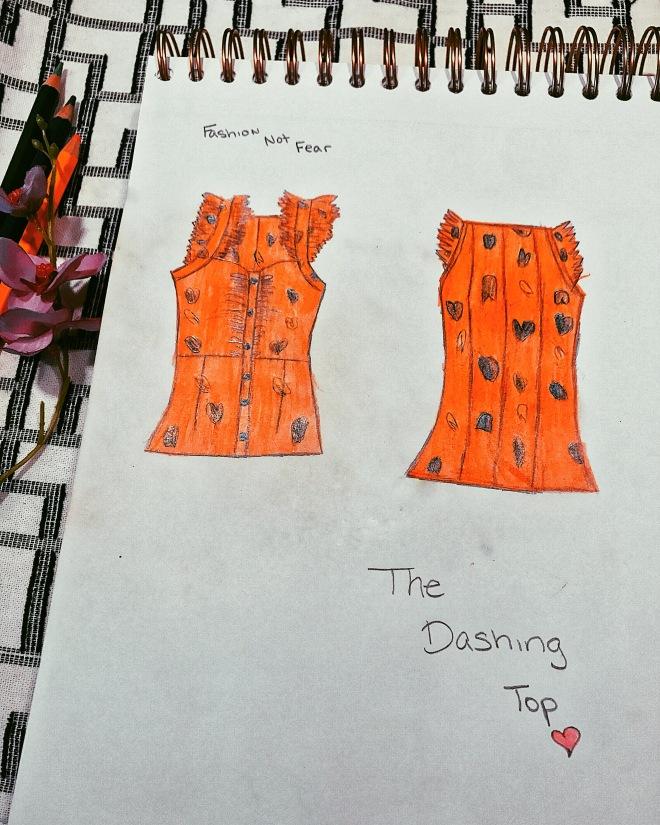 orange floral printed handmade blouse