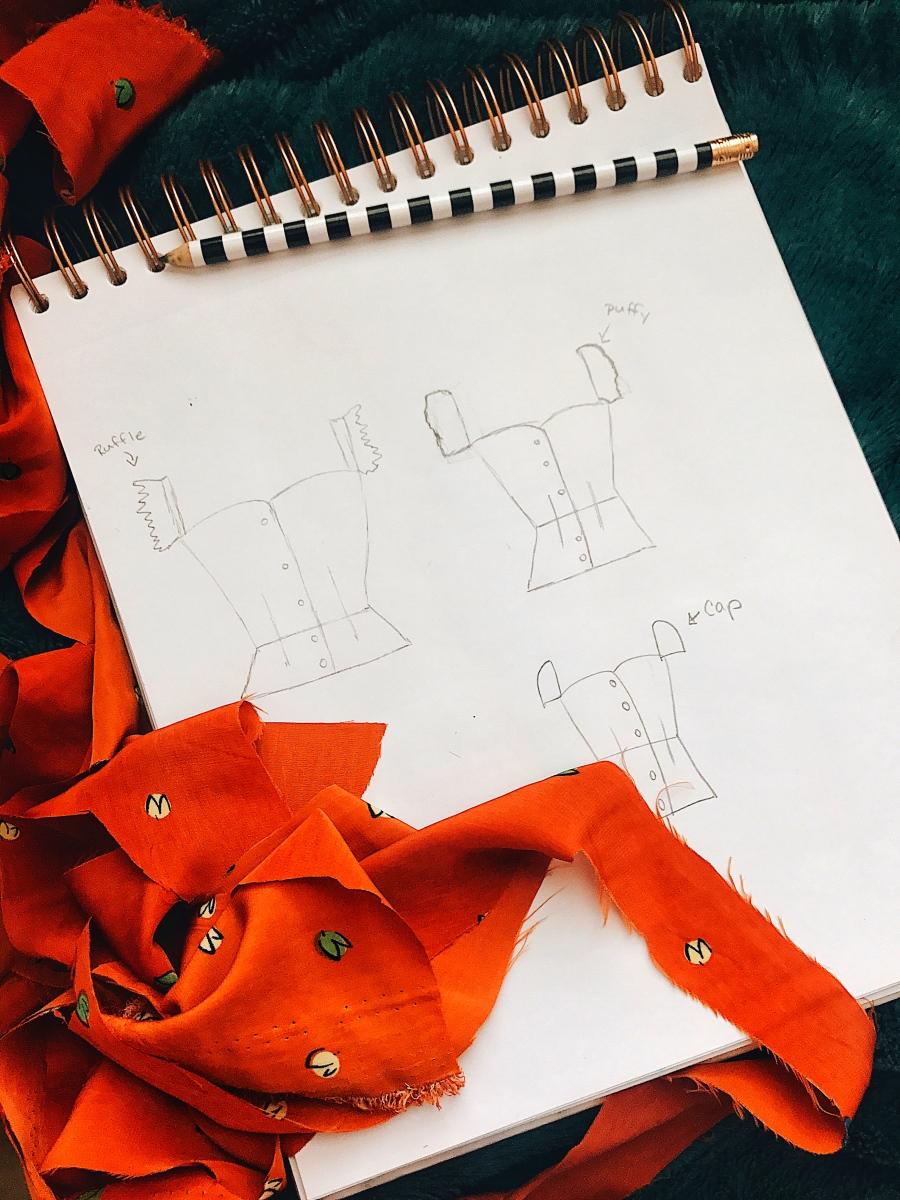 fashion sketch with fabric