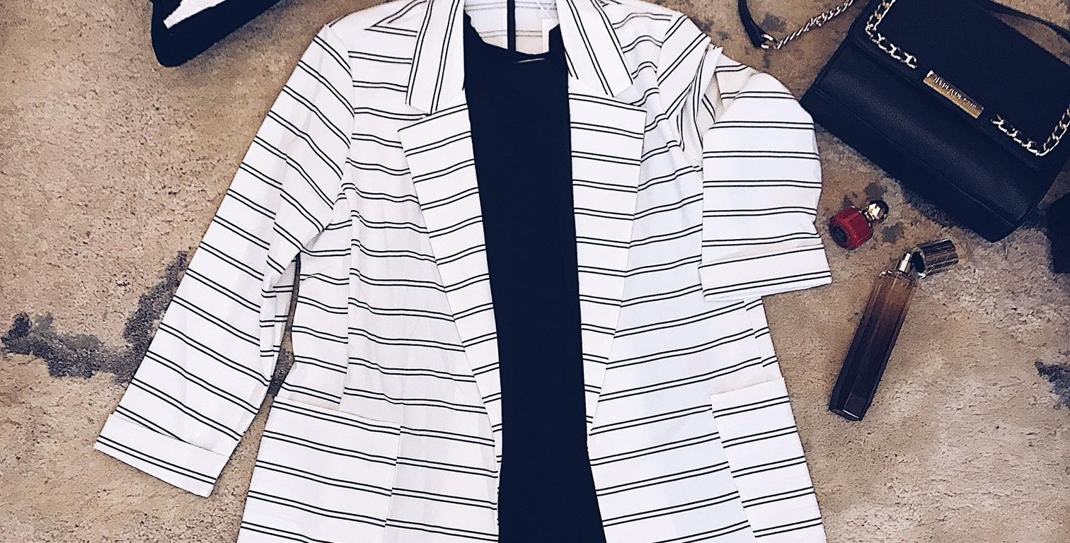 striped blazer with pockets