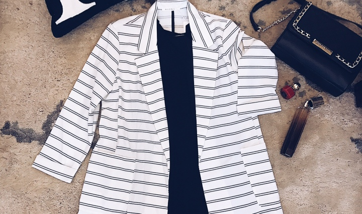 striped blazer with pockets
