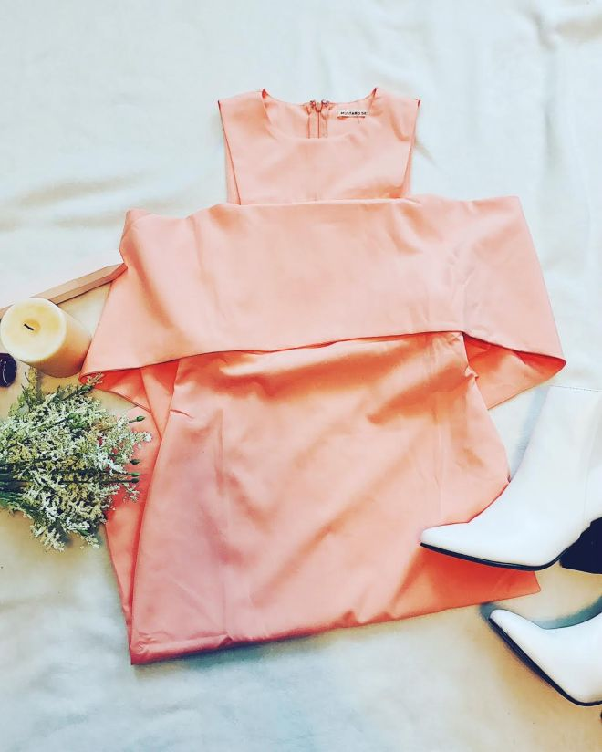 off the shoulder peach dress
