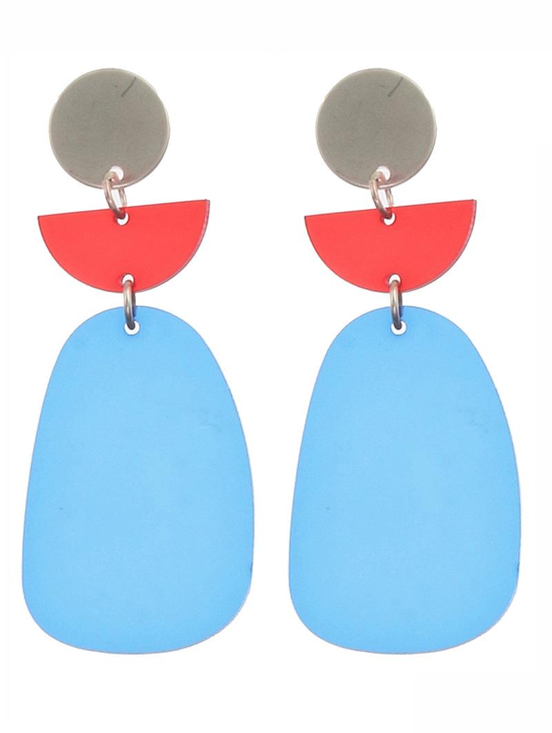 blue acrylic metal earrings