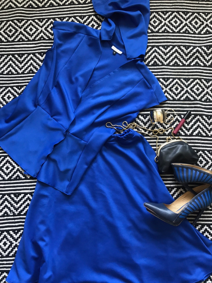 blue labels hooded vest and skirt