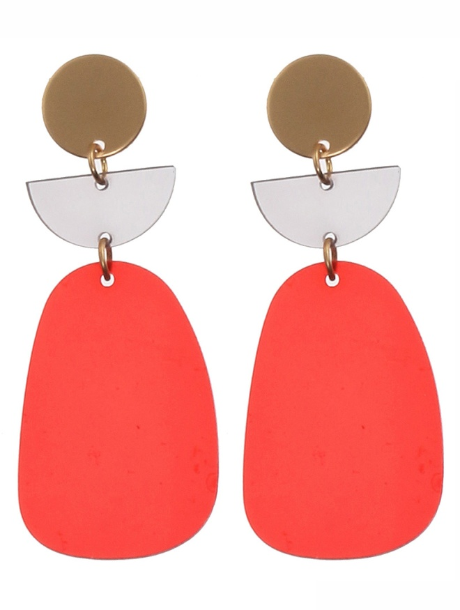 red acrylic metal earrings