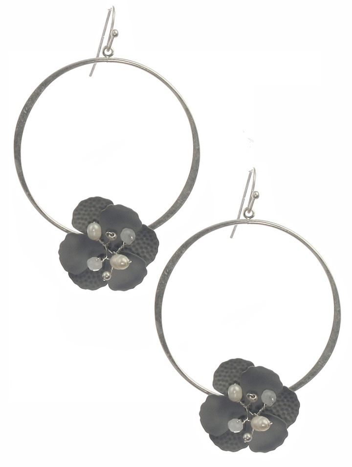 grayflowerhoopearrings