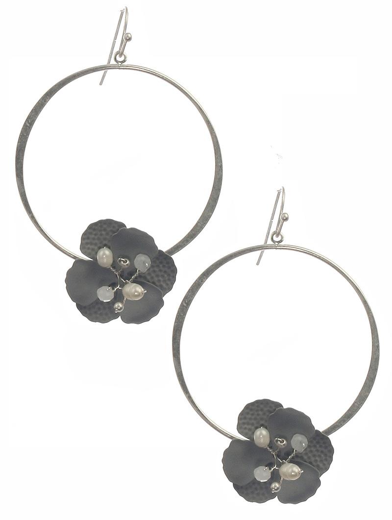 grayflowerhoopearrings
