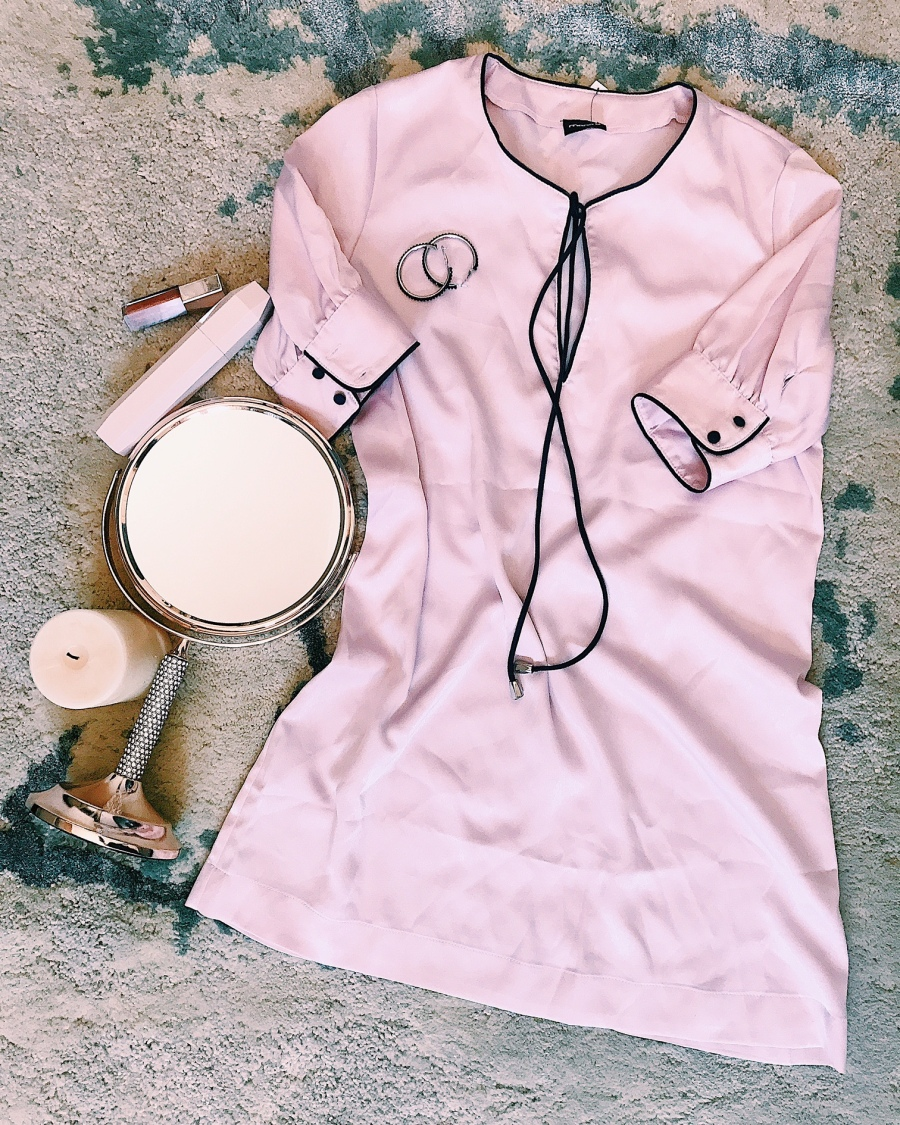 pink satin shift dress