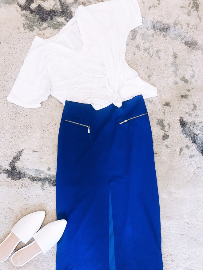 blue skirt with front slit