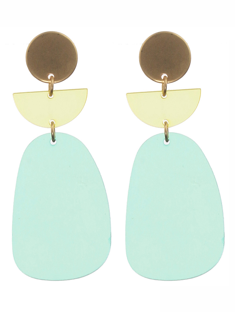mint green acrylic metal earrings
