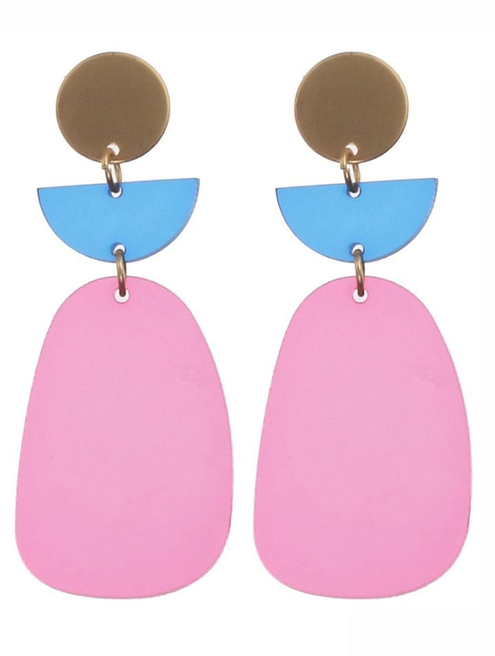 pink acrylic metal earrings