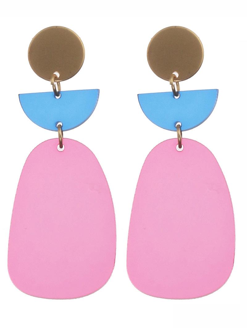 pink acrylic metal earrings