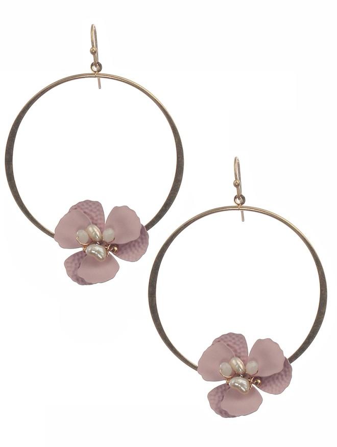 pinkflowerhoopearrings