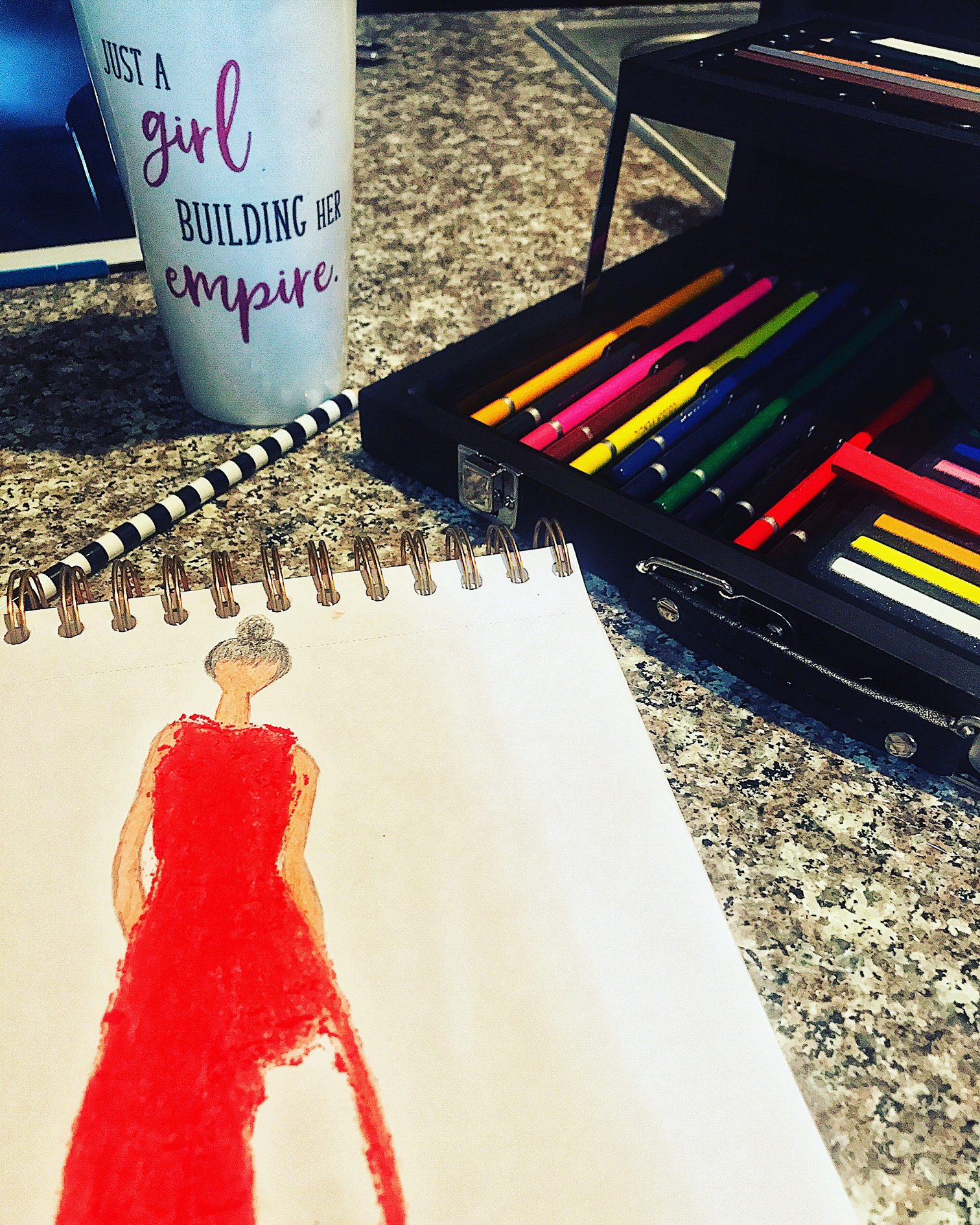 red dress fashion sketch