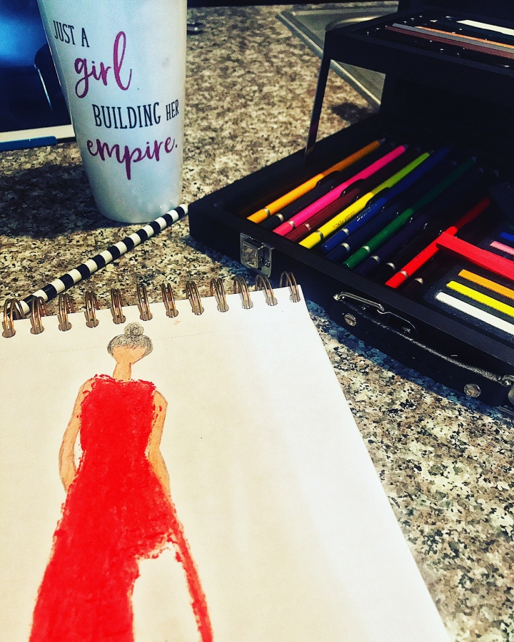 red dress fashion sketch