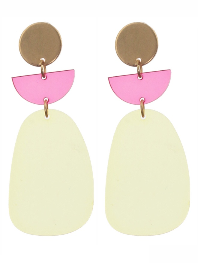 yellow acrylic metal earrings