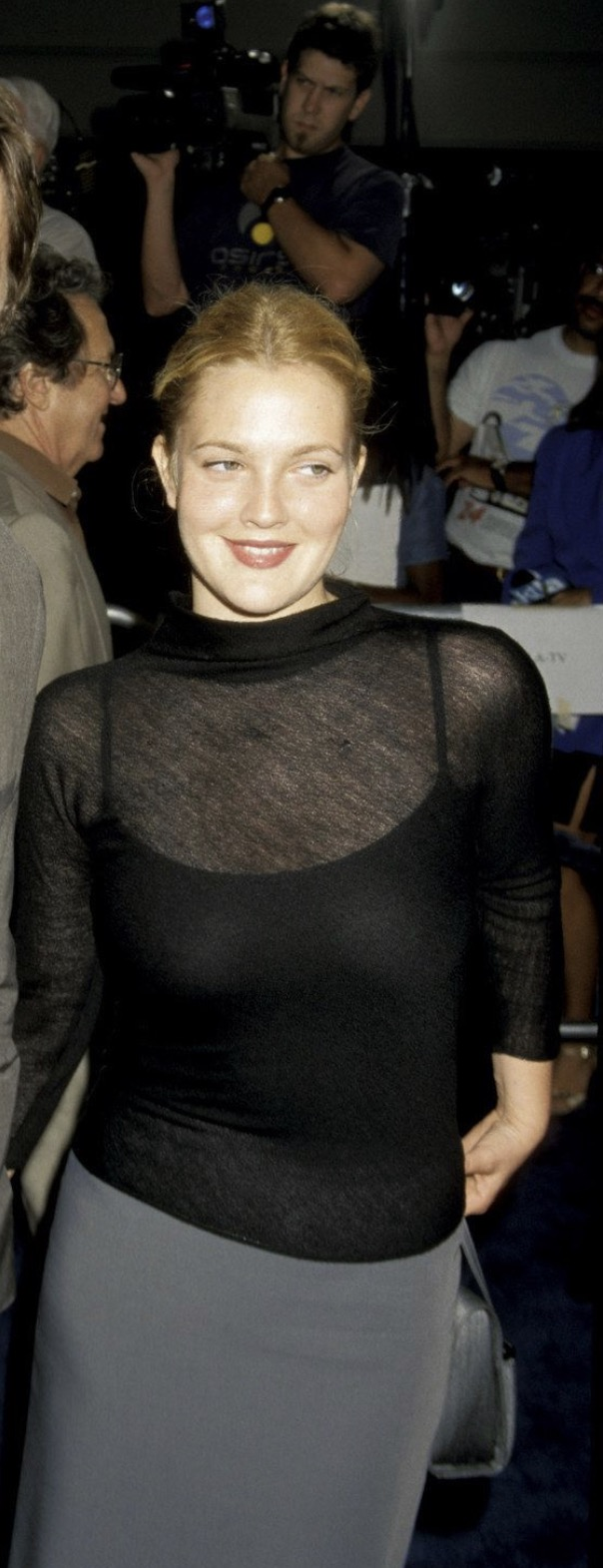 drew barrymore in sheer top