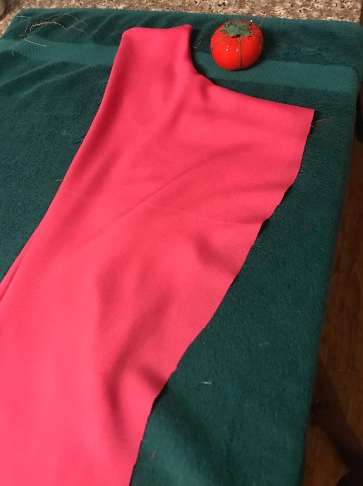pink cut fabric