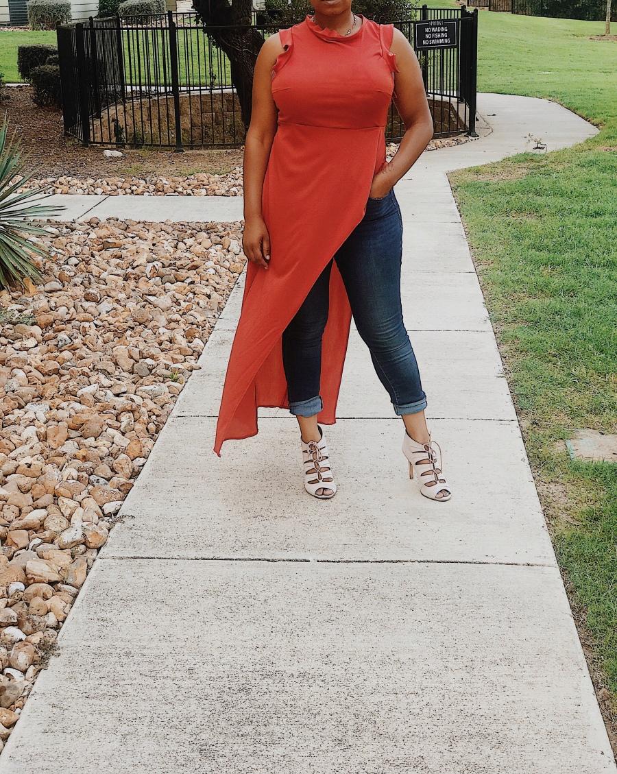 Orange handmade coordinating top and skirt set