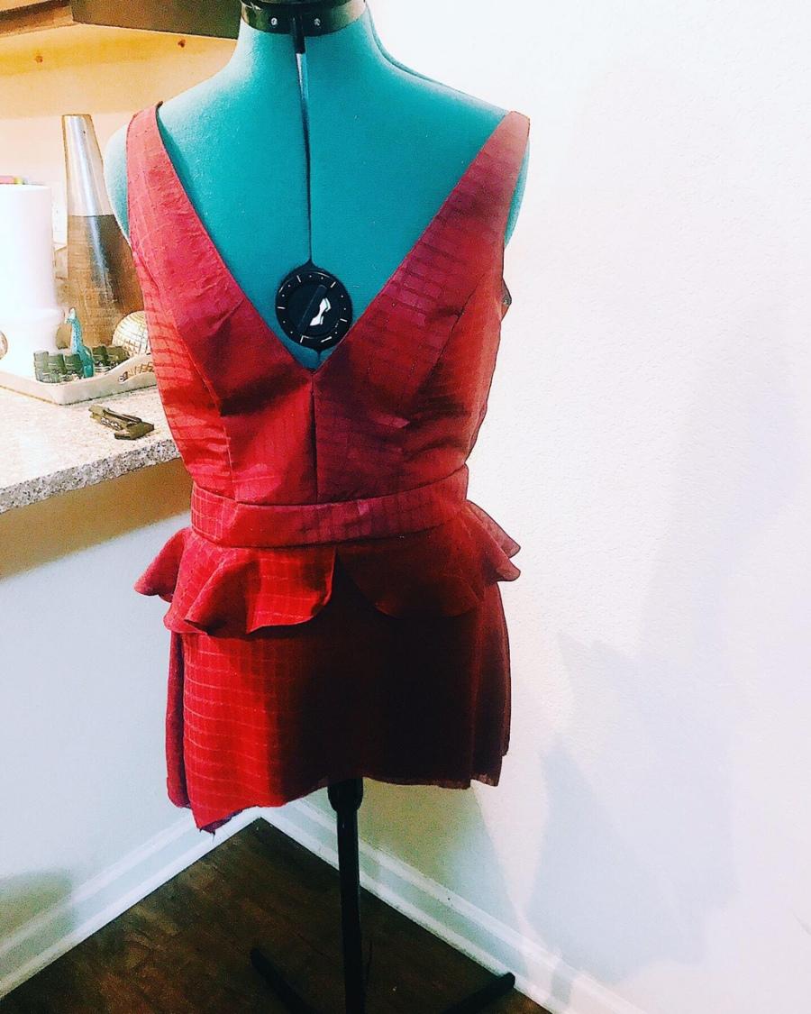 first tier of burgundy dress
