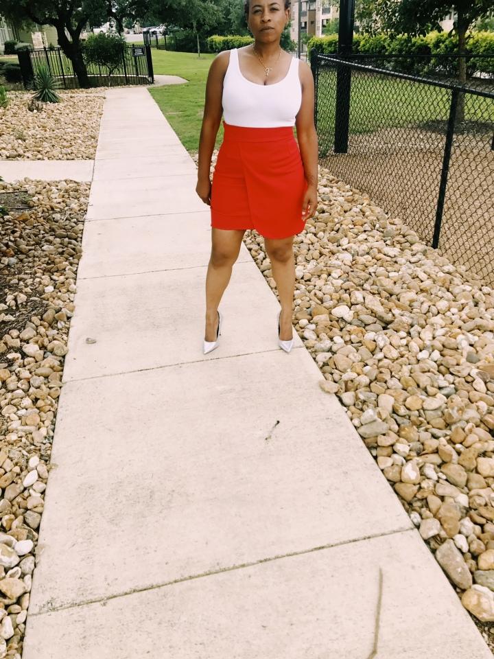 red handmade wrap skirt